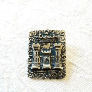 Castle Postage Stamp Brooch/Pin